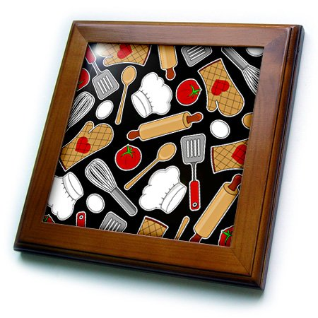 Ft_172123_1 Janna Salak Designs Occupational Gifts - Cute Chef Or Cook Love Pattern In Black - Framed Tiles - 8X8 Framed Tile