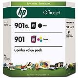 HP 901XL Black and 901 Color Inkjet Cartridges (1 XL Black, 1 Cyan, 1 Magenta, 1 Yellow) in Retail Packaging