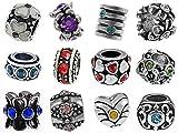 Timeline Trinketts Rhinestone Charm Bracelet Beads Fits Pandora Jewelry European Style - Birthstone Set