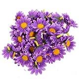 50 Pieces Sunflower Artificial Silk Flower Heads Craft Wedding Party Home Decor (Purple)