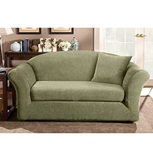 Sure Fit Stretch Pique T-Cushion Two Piece Sofa Slipcover ...  |Amazon Sure Fit Slipcovers