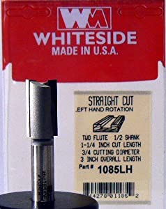 Whiteside Router Bits 1085LH Left Hand Straight Bit with 3/4-Inch Cutting Diameter and 1-1/4-Inch Cutting Length