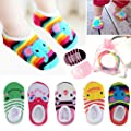 Yshare® 5 Pairs Girls 6-24 Month Cartoon Baby Toddler Anti Slip Skid Low Cut Boat Socks + Gift Bangle With bags No Show Newborn Socks