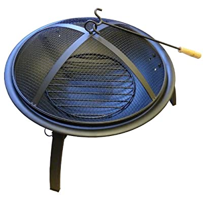 Portable Fire Pit - Fire Bowl With Grill Folding Legs And Lid from We Search You Save