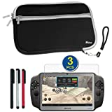 BIRUGEAR Black Neoprene Sleeve Zipper Carrying Case with Screen Protector & Stylus for Archos GamePad 7-inch Touchscreen Gaming Tablet