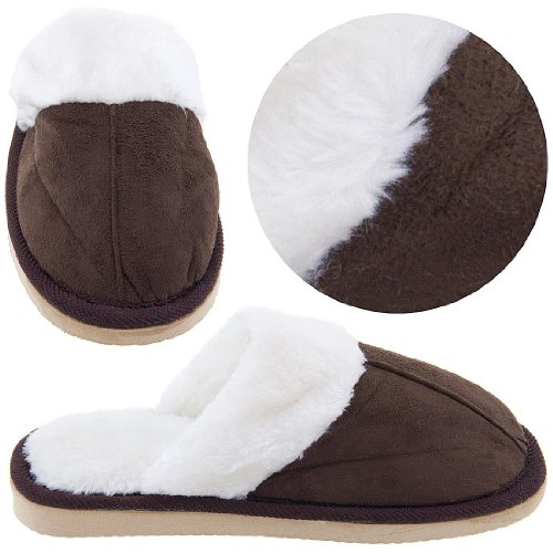 Cheap Chocolate Brown Scuffs with Faux Fur for Women (B0044VK8IA)