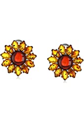 Rhodium-Plated Sterling Silver and Amber Flower Stud Earrings