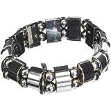 Set Of 2 Men's/Women's Hematite Metal Magnetic Therapy Bracelets S15C3