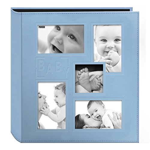 "Pioneer Collage Frame Embossed ""Baby"" Sewn Leatherette Cover Photo Album, 4""x6"", 240 Photos, Baby Blue"