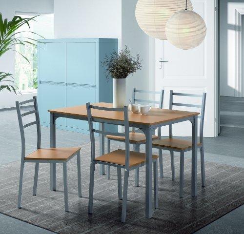 Mesa de comedor y cocina 4 sillas, color madera natural tienda ...