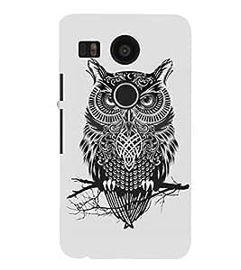 Fuson Premium Grey Owl Printed Hard Plastic Back Case Cover for LG Nexus 5X