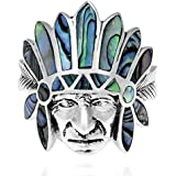 Tribal Native Indian Chief Head Abalone Inlay .925 Silver Ring
