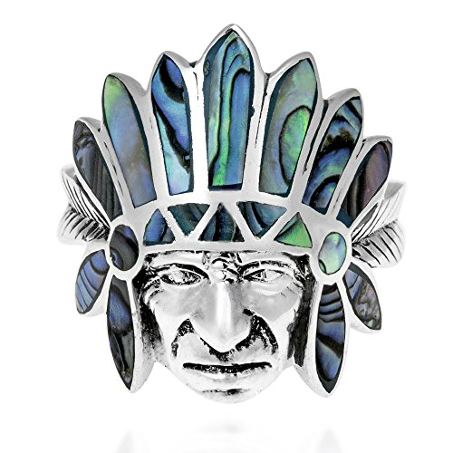 Tribal Native Indian Chief Head Abalone Inlay .925 Silver Ring (8)