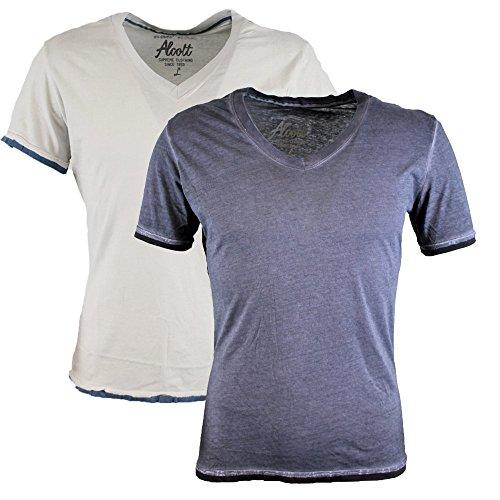 Alcott T-shirt da uomo confezione doppia scollo a V Vintage Acid Wash Pearl-Grey L