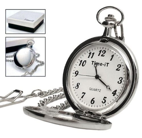 Personalised Silver Plated Pocket Watch (Engraved Free)