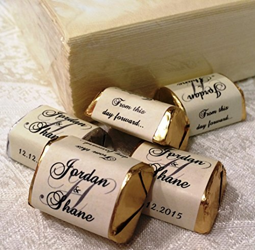 300 Personalized IVORY MONOGRAM WEDDING CANDY WRAPPERS/Stickers/Labels (Make your own event or party favors using your HERSHEY NUGGET CHOCOLATES)
