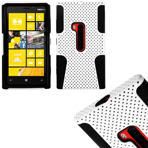 Mylife (Tm) White And Dark Raven Black Perforated Mesh Series (2 Layer Neo Hybrid) Slim Armor Case For The Nokia Lumia 920, 920.2, 920T And 920 4G Camera Smartphone By Microsoft (External Rubberized Hard Shell Mesh Piece + Internal Soft Silicone Flexible