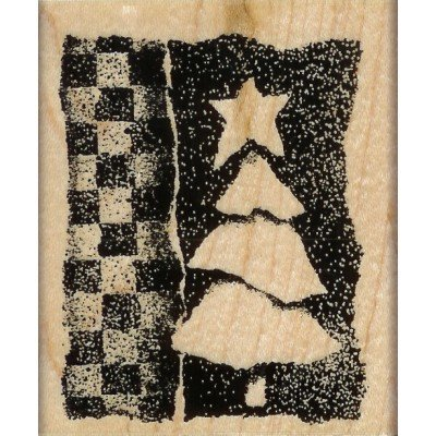 Checkerboard Tree Wood Mounted Rubber Stamp (V069)