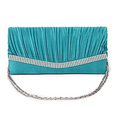 Women Clutch Bag Bridal Bag Ladies Rhinestone Chain Handbag Evening Party - Turquoise
