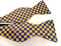100% Silk Self-tie Bow Tie - Purple & Gold Checker - Omega Psi Phi, Lsu, East Carolina