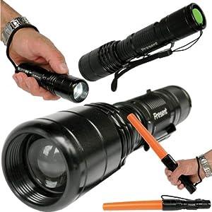 Lampe Torche Q5 CREE LED FA-0515 Rechargeable ULTRA PUISSANTE Portée de plus de 300m - 5 modes dont S.O.S. + bâton de détresse