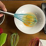 TTLIFE 5 Stück Küchenhelfer-Edelstahl-Kochen Set Silikon Küchenhelfer Hitzebeständig Set Heat Resistant Utensilien Kochgeschirr 3 Silikon Whisk und 2 Silikon Spachtel für Blending wischt Beating Rühren -