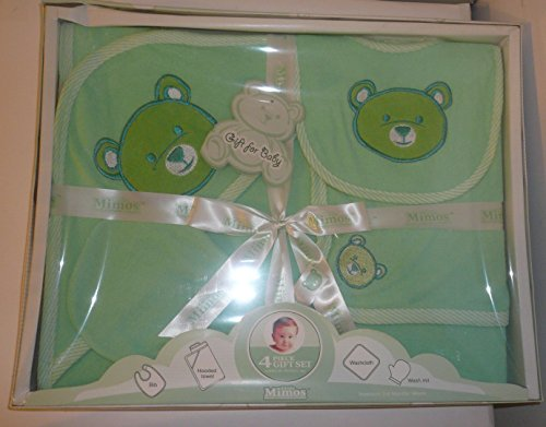 Little Mimos Bathtime 4-piece Green Baby Gift Set with Wash Mit, Washcloth, Hooded Towel and Bib