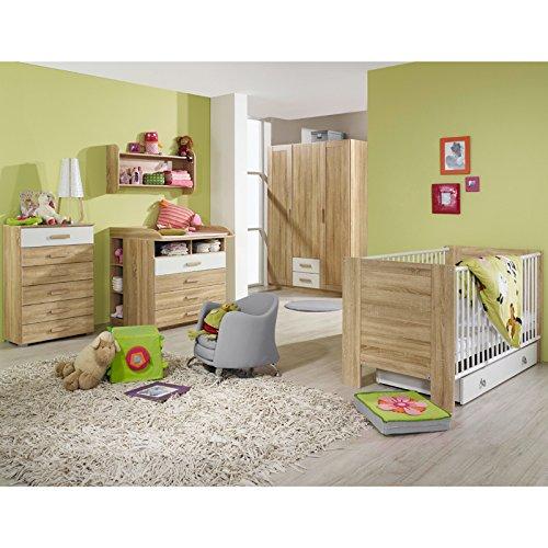 Komplett Babyzimmer Eiche Sonoma Wickeltisch Babybett Gitterbett Kleiderschrank