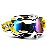 Polarized Sport Motorcycle Motocross Goggles ATV Racing Goggles Dirt Bike Tactical Riding Motorbike Goggle Glasses, Bendable Windproof Dustproof Scratch Resistant Protective Safety Glasses (Yellow) (Color: Yellow)
