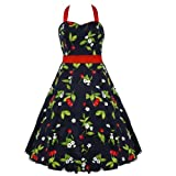 50's Cherry Halterneck Dress Red - XL = 12 (US), 16 (UK)