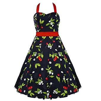 50's Cherry Halterneck Dress Red - XS = 4 (US), 8 (UK)