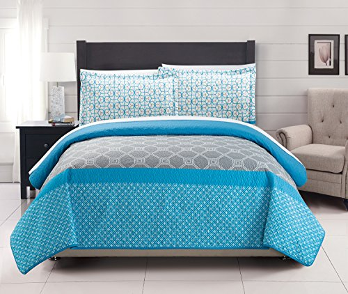 Chic Home 3 Piece Lori Geometric Modern Design Printed Quilt Set, King, Blue (Modern Quilts King Size compare prices)