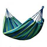 Hikingworld Single 200 X 80cm Portable Canvas Striped Outdoor Hammock/bed,with Two Extra Tying Rope. (Blue+Green)