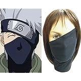 Black Cosplay Anime Naruto Hatake Kakashi Sensei Ninja Veil Face Mask