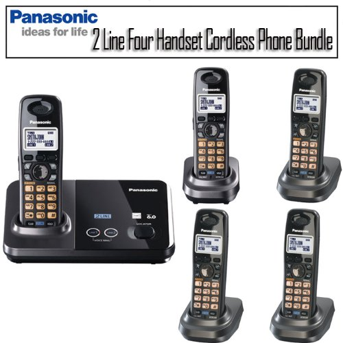 Panasonic Kx-Tg9322T Dect 6.0 2 Line Four Handset Cordless Phone Bundle