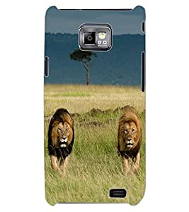 ColourCraft Lion and Lioness Design Back Case Cover for SAMSUNG GALAXY S2 I9100