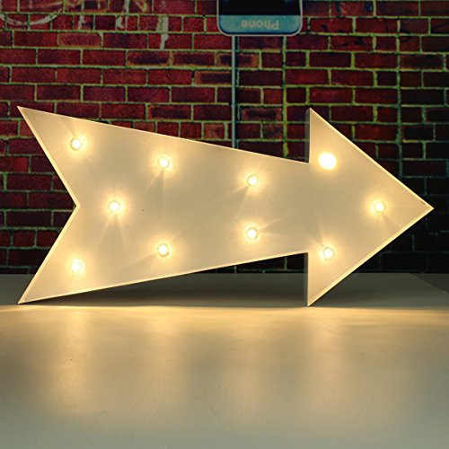 SOLMORE 23CM x 5.5CM LED Symbol Light DIY Vintage Metal Sign Carnival Wall Marquee Lights Decoration Arrow 0