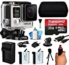 GoPro HERO4 Hero 4 Black Edition 4K Action Camera Camcorder with 32GB Starter Accessory Bundle includes MicroSD Card + Stabilization Hand Grip + 2x Batteries + Home and Car Charger + Medium Case + HDMI + Dust Cleaning Care Kit (CHDHX-401)