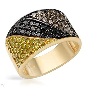 Ring With 1.32ctw Genuine Diamonds Beautifully Crafted in 14K/925 Gold plated Silver. Total item weight 7.7g (Size 6)