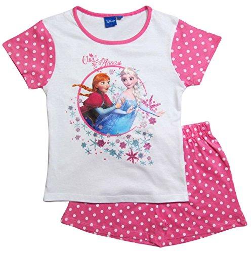 Frozen Pyjama Die Eiskönigin 2016 Kollektion 98 104 110 116 122 128 Schlafanzug Shortie Shorty Anna und Elsa Weiß-Darkrosa (98 - 104, Weiß-Darkrosa)