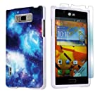 LG Optimus Showtime L86C White Protective Case + Screen Protector By SkinGuardz - Blue Space
