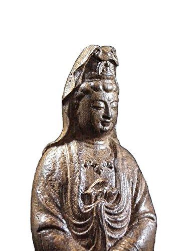 JapaNice 観音菩薩像 木製 約14cm BA626