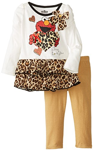 Sesame St Baby-Girls Infant Elmo 2 Piece Print Long Sleeve Legging Set, Vanilla, 18 Months front-955737