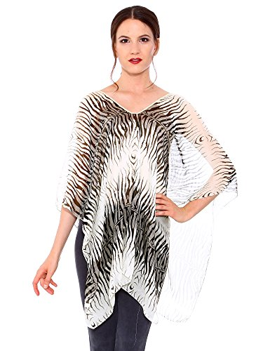 Simplicity® Women's UV Protection Sheer Chiffon Caftan Wrap Poncho,Black Leopard