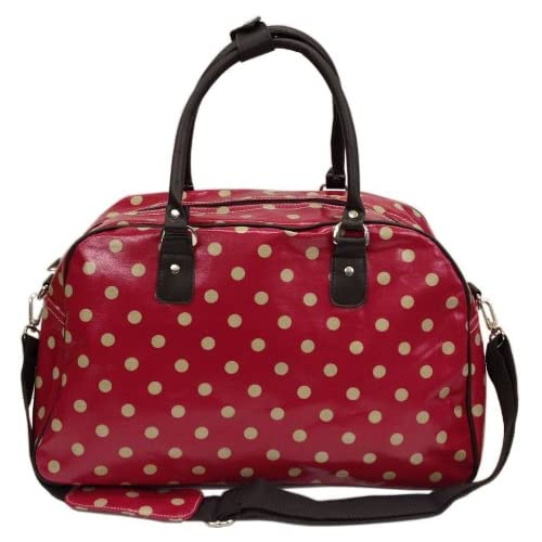 Gossip Girl - Oilcloth Holdall Weekend <strong>Overnight Bag< strong> Hand Luggage Cabin <strong>Bag< strong> 25L- Polka Dot Spot   Butterfly  ...