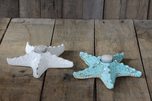 """9"""" Wide Starfish Tealight Candle Holders - Coastal Coffee Table Decor front-729540"""