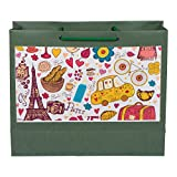 "Medium Paper Bags Green Paris Print Size 10""x12""x4"" (Pack-5)"