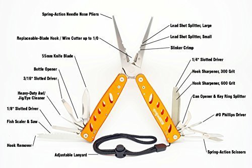 EdgeWorks 19-in-1 Needle Nose Fishing Pliers Multitool with Tungsten Carbide Hook Cutter Blades, Hook Sharpener, Knife, Crimps, Scissors, Jig Eye Pick, Belt Pouch and More!