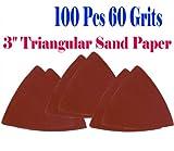 "Pack 100 Sandpaper 60 Grits 3-1/8"" Triangular Sand Paper w/ Velcro Oscillating Multi Tool Saw Blades for Fein Multimaster Bosch Multi-x Craftsman Nextec Dremel Multi-max Ridgid Dremel Chicago 3"" Rockwell Huperlock Worx Mm20 6300 Milwaukee M12"