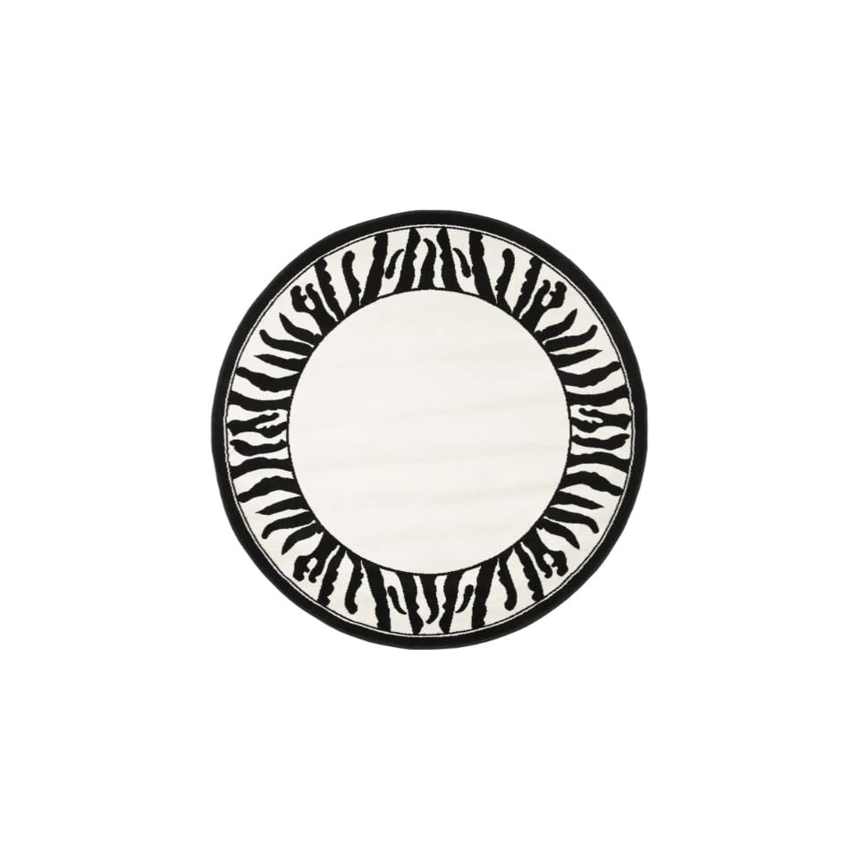 Safavieh Lyndhurst Collection LNH227A White and Black Round Area Rug (53 Diameter)